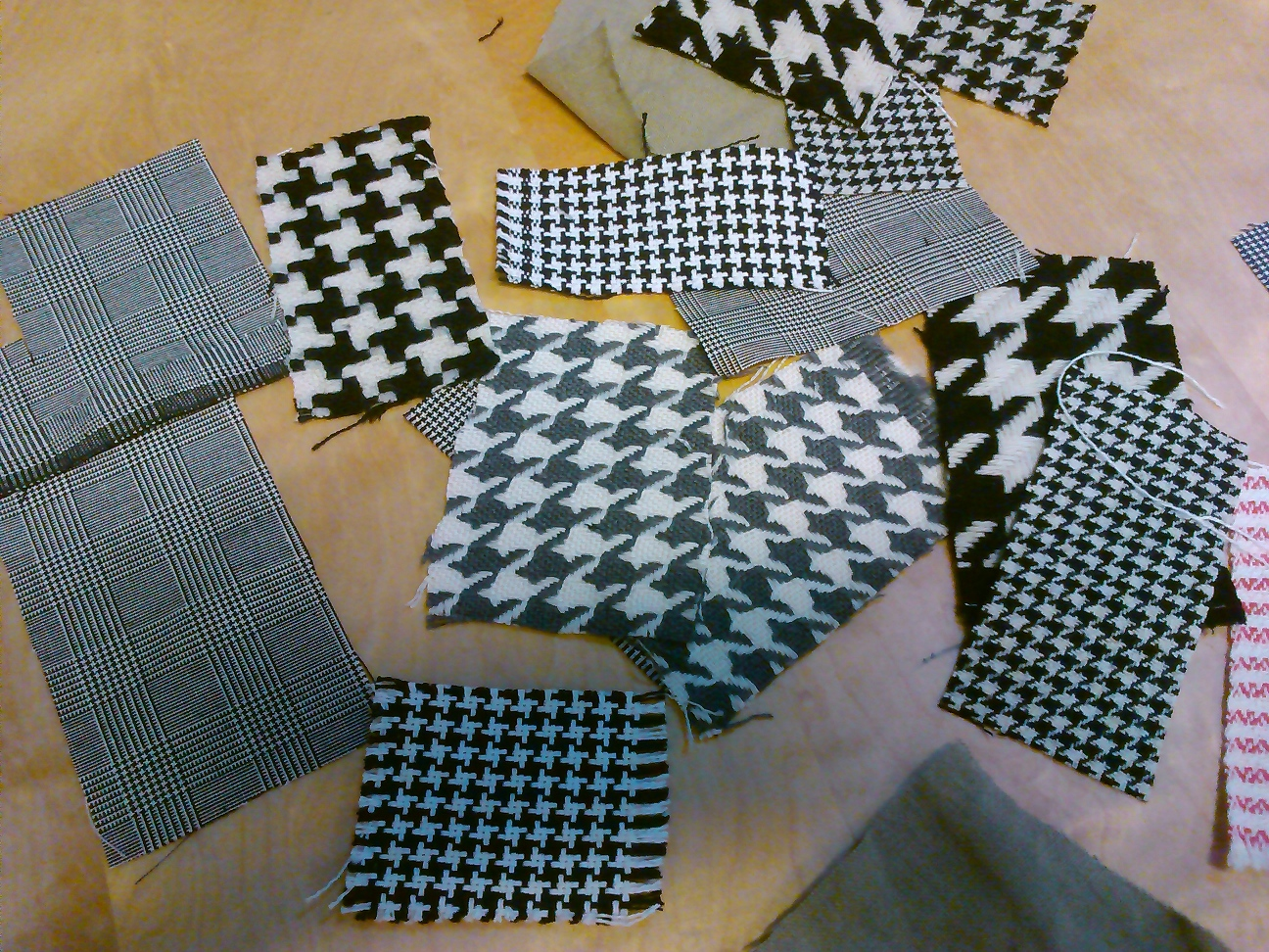 Lots of pieces of woven fabric