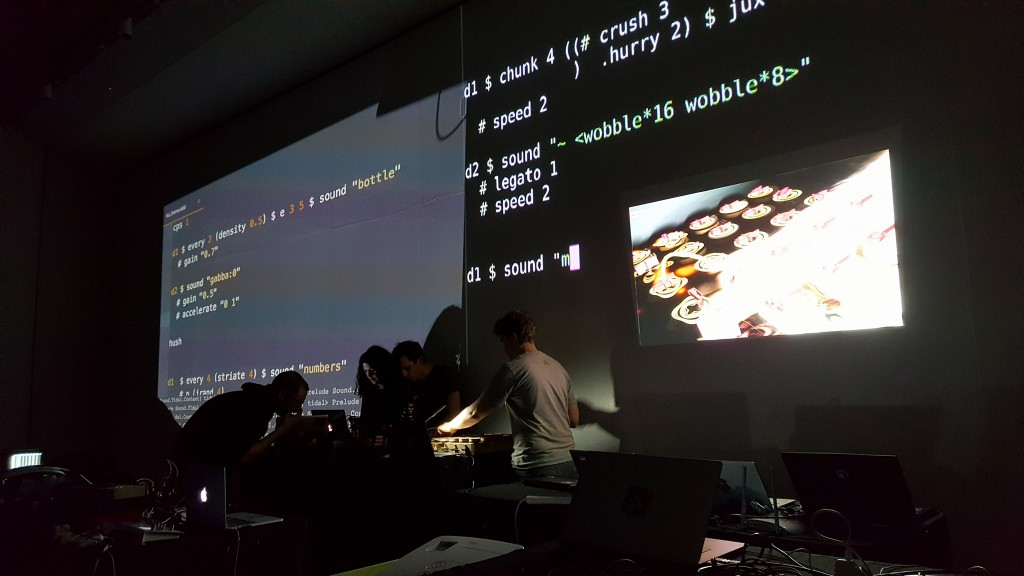 Pattern matrix livecoding as part of slub performance at the Algomech Algorave